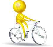 Cyclist. Isolated illustration of glob character riding cycle Stock Images