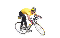 Cyclist. Isolated against white background Royalty Free Stock Photography