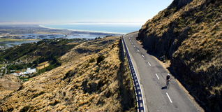 Cyclist. A New Zealand cyclist enjoying the open road Royalty Free Stock Images