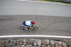 Cyclist from above by downhill. From above - biker from bird`s eye view Royalty Free Stock Photo