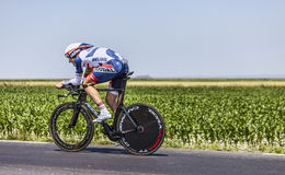 The Cyclist Adam Hansen. Ardevon,France-July 10, 2013: The Australian cyclist Adam Hansen from Lotto-Belisol Team cycling during the stage 11 of the edition 100 Royalty Free Stock Images