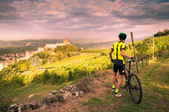 Cyclist admires the Soave castle views. Royalty Free Stock Image
