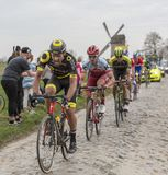 The Cyclist Adrien Petit - Paris-Roubaix 2018. Templeuve, France - April 08, 2018: The French cyclist Adrien Petit of Direct Energie Team riding on the Royalty Free Stock Image