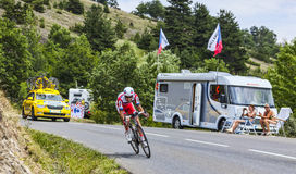 The Cyclist Alberto Losada Alguacil. Chorges, France- July 17, 2013: The Spanish cyclist Alberto Losada Alguacil from Katusha Team pedaling during the stage 17 Stock Photography