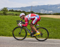 The Cyclist Aleksandr Kuschynski. Chorges, France- July 17, 2013: The Belarusian cyclist Aleksandr Kuschynski from  Katusha Team pedaling during the stage 17 of Stock Photos