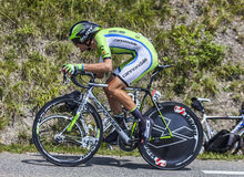 The Cyclist Alessandro De Marchi. Chorges, France- July 17, 2013: The Italian cyclist Alessandro De Marchi from Cannondale Team pedaling during the stage 17 of Royalty Free Stock Photos