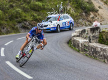 The Cyclist Alexandre Geniez. Chorges, France- July 17, 2013: The French cyclist Alexandre Geniez from FDJ.fr Team pedaling during the stage 17 of 100th edition Royalty Free Stock Image