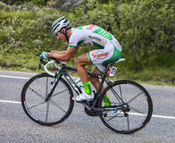 The Cyclist Alexis Vuillermoz. Chorges, France- July 17, 2013: The French cyclist Alexis Vuillermoz from Sojasun Team pedaling during the stage 17 of 100th Stock Photo