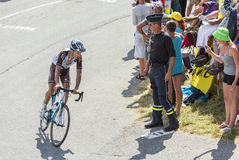The Cyclist Alexis Vuillermoz on Col du Glandon - Tour de France Royalty Free Stock Image