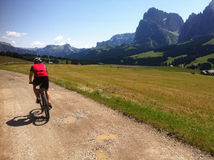 Cyclist in Alpe di Siusi. A male cyclist riding along a dirt path on the plateau of Alpe di Siusi, Italy. The Sciliar mountains at the right Royalty Free Stock Photography