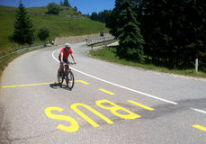 Cyclist in Alpe di Siusi Stock Images