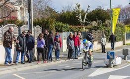 The Cyclist Amets Txurruka Ansola - Paris-Nice 2016. Conflans-Sainte-Honorine,France-March 6,2016: The Spanish cyclist Amets Txurruka Ansola of Orica–GreenEDGE Stock Image