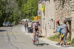 The Cyclist Andre Greipel on Mont Ventoux - Tour de France 2016. Mont Ventoux, France - July 14,2016: The German cyclist Andre Greipel of Team Lotto–Soudal Stock Images