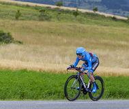 The Cyclist Andrew Talansky. Chorges, France- July 17, 2013: The American cyclist Andrew Talansky from Garmin-Sharp Team pedaling during the stage 17 of 100th Royalty Free Stock Images