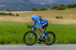 The Cyclist Andrew Talansky. Chorges, France- July 17, 2013: The American cyclist Andrew Talansky from Garmin-Sharp Team pedaling during the stage 17 of 100th Stock Photography