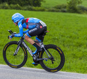 The Cyclist Andrew Talansky. Chorges, France- July 17, 2013: The American cyclist Andrew Talansky from Garmin-Sharp Team pedaling during the stage 17 of 100th Stock Photo