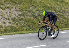 The Cyclist Andrey Amador. Chorges, France- July 17, 2013: The Costa Rican  cyclist Andrey Amador from Movistar Team pedaling during the stage 17 of 100th Stock Photography