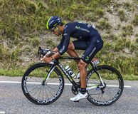 The Cyclist Andrey Amador. Chorges, France- July 17, 2013: The Costa Rican  cyclist Andrey Amador from Movistar Team pedaling during the stage 17 of 100th Royalty Free Stock Image