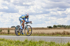 The Cyclist Andrij Grivko. Beaurouvre,France,July 21st 2012:The Ukrainian cyclist Andrij Grivko from Team Astana pedaling during the 19th stage of Le Tour de Stock Photos