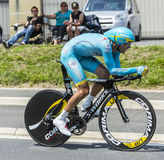 The Cyclist Andriy Grivko. Coulounieix-Chamiers, France - July 26, 2014: The Ukrainian cyclist Andriy Grivko (AstanaTeam) pedaling during the stage 20 ( time Stock Photography