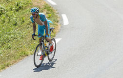 The Cyclist Andriy Grivko - Tour de France 2015. Col D'Aspin,France- July 15,2015: The Ukrainian cyclist Andriy Grivko of Astana Team, climbing the road to Col D Royalty Free Stock Image