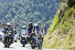 The Cyclist Arnaud Demare - Tour de France 2015. Col D'Aspin,France- July 15,2015: The French cyclist Arnaud Demare of FDJ Team, climbing the road to Col D'Aspin Stock Image