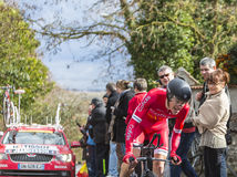 The Cyclist Arnold Jeannesson - Paris-Nice 2016. Conflans-Sainte-Honorine,France-March 6,2016: The French cyclist Arnold Jeannesson of Cofidis Team riding during Royalty Free Stock Images