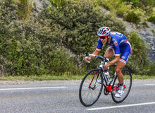 The Cyclist Arthur Vichot. Chorges, France- July 17, 2013: The French cyclist Arthur Vichot from FDJ.fr Team pedaling during the stage 17 of 100th edition of Le Royalty Free Stock Images