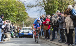 The Cyclist Arthur Vichot - Paris-Nice 2016. Conflans-Sainte-Honorine,France-March 6,2016: The French cyclist Arthur Vichot of FDJ Team riding during the Royalty Free Stock Photography