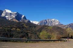 Cyclist in Asturias, Ponga Royalty Free Stock Photo