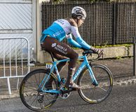 The Cyclist Axel Domont - Paris-Nice 2018 stock photography