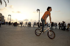 Cyclist, Beirut. A cyclist in Beirut city seafront Stock Photo