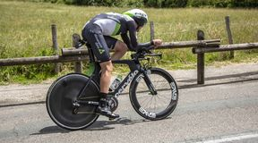 The Cyclist Ben O`Connor - Criterium du Dauphine 2017. Bourgoin-Jallieu, France - 07, May, 2017: The Australian cyclist Ben O`Connor of Dimension Data Team stock photo