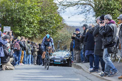 The Cyclist Ben Swift - Paris-Nice 2016. Conflans-Sainte-Honorine,France-March 6,2016: The British cyclist Ben Swift of Team Sky riding during the prologue stage Royalty Free Stock Image