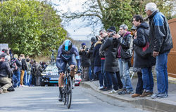 The Cyclist Ben Swift - Paris-Nice 2016. Conflans-Sainte-Honorine,France-March 6,2016: The British cyclist Ben Swift of Team Sky riding during the prologue stage Stock Images