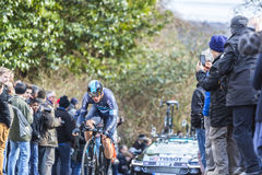 The Cyclist Ben Swift - Paris-Nice 2016. Conflans-Sainte-Honorine,France-March 6,2016: The British cyclist Ben Swift of Team Sky riding during the prologue stage Stock Photo