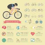Cyclist. Benefits of cycling bicycle, infographic, flat style Royalty Free Stock Image