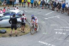 The Cyclist Benoit Vaugrenard - Tour de France 2015. Col du Glandon, France - July 24, 2015: The French cyclist Benoit Vaugrenard of FDJ Team,climbing the road Royalty Free Stock Photos