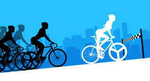 Cyclist in the bicycle race. Vector and Illustration Stock Images