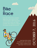 Cyclist in bicycle racing go to the mountain. race  competition poster. Vector illustrator. Royalty Free Stock Images