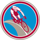 Cyclist Bicycle Rider Circle Retro Stock Photo