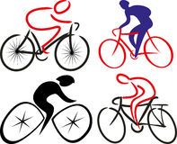 Cyclist, bicyclist - silhouettes Stock Photos