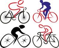 Cyclist, bicyclist - silhouettes Stock Photos