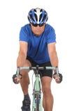 Cyclist on bike closeup stock photo