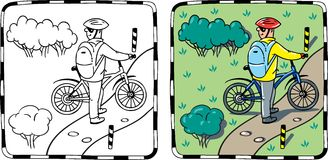 Cyclist with a bike. Coloring book or coloring picture of cyclist with a bike. Children  illustration Royalty Free Stock Images