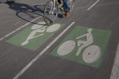 Cyclist on Bike Lane Stock Photos