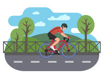 Cyclist on bike path. Bicycle and biking road, travel cycle, recreation sport, transport vector illustration royalty free illustration