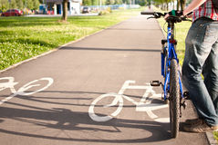 Cyclist on the bike path Royalty Free Stock Image