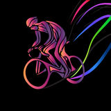 Cyclist in a bike race. Color vector clipart Stock Photography