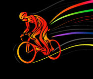 Cyclist in a bike race. Vector illustration Royalty Free Stock Images
